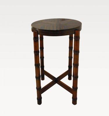 mesa tipo pedestal de ebano y guindo