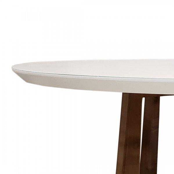 mesa de comedor , base en madera de guindo y tapa laqueada color blanco con cristal sobre tapa pintado en mismo color.