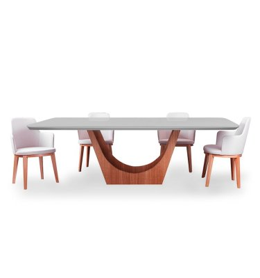 Mesa de comedor con tapa laqueada y vidrio color seppia.