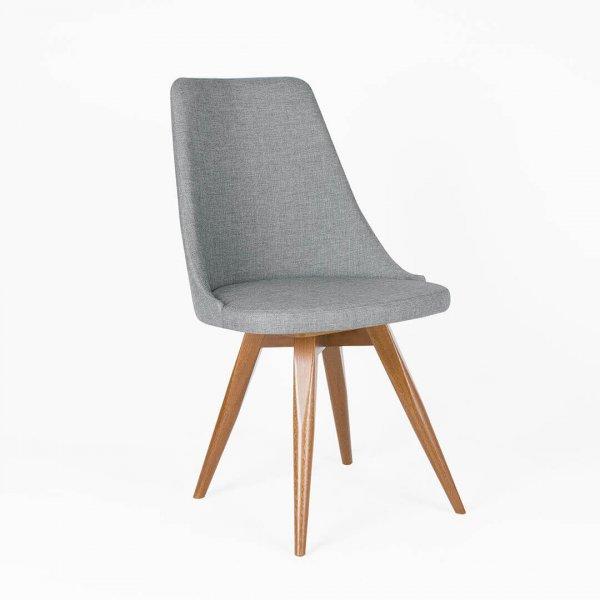 silla en madera tapizada en lino gris oscuro