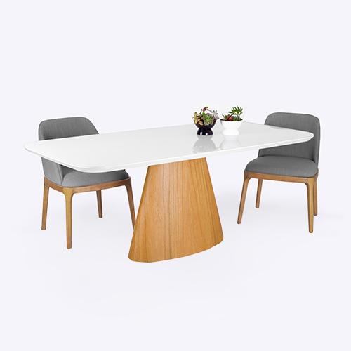 Mesa de comedor de 1,80 x 0,9 base Eucaliptus y tapa laqueada blanca con vidrio arriba