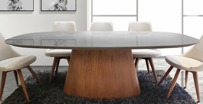 Mesa de comedor Oval tapa color seppia