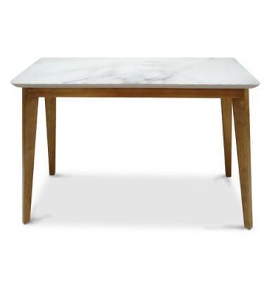 Mesa de arrime en madera de Guindo con tapa en madera laqueada con vidrio simil Carrara.