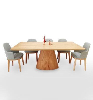 Mesa rectangular de 2x1 en madera de Eucalipto, lustre al natural.