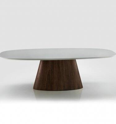 Mesa Oval con tapa laqueada y vidrio pegado color gris, base lustre nogal