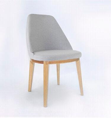 silla contemporánea tapizado simil lino gris