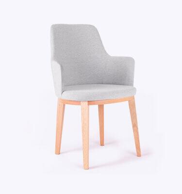 silla con brazos contemporánea tapizado simil lino gris