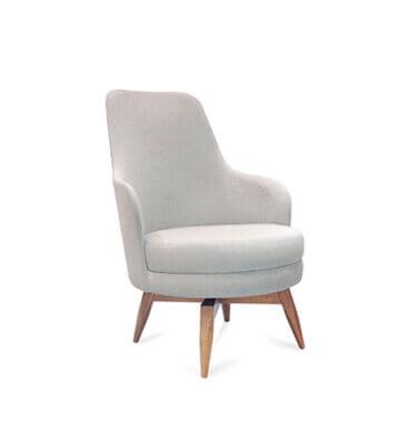 Sillon de diseño italiano, tapizado simil lino gris Rustic