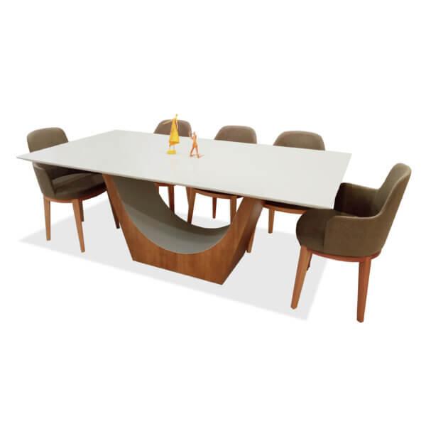 Mesa de comedor Sara rectangular sepia